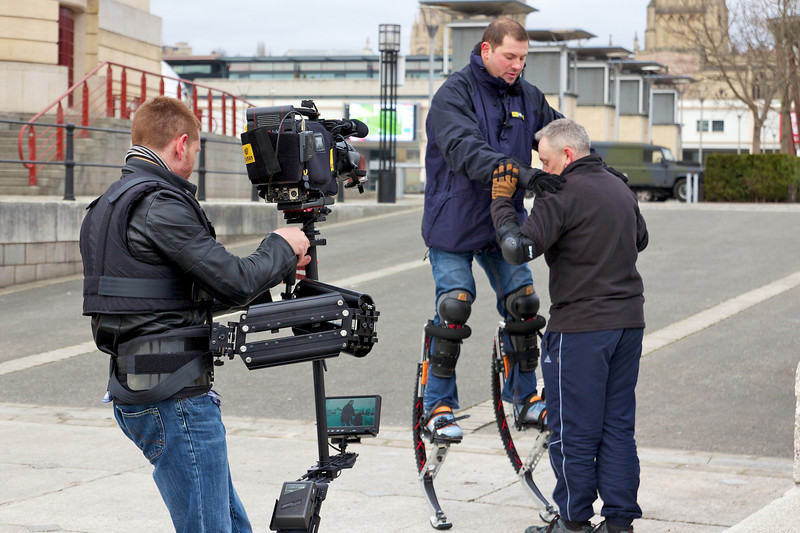 "Simon operating the Glidecam X-22 in Bristol with an Ikegami 2/3"" ENG camera"