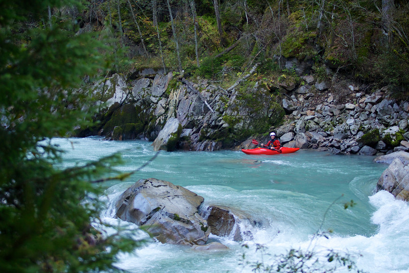 A kayaker looks down the Wellebrucke rapids during practice for the Adidas Sickline whitewater kayak competition 2013.